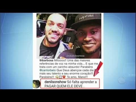 """Hora da Venenosa: jogador Denilson cobra cantor Belo: """"Pague o que deve"""""""