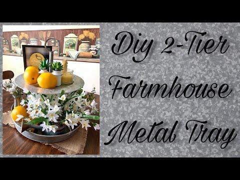 Diy farmhouse 2-tier metal tray