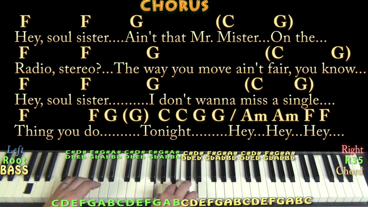 Hey Soul Sister TRAIN Piano Cover Lesson in C with Chords/Lyrics