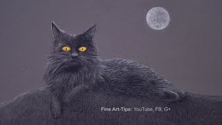 How to Draw a Black Cat in the Night - Halloween Special