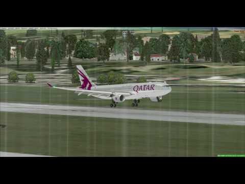 My Landing on Geneva AirPort by Qatar Virtual Flight # QTR 103 With thunderstorm