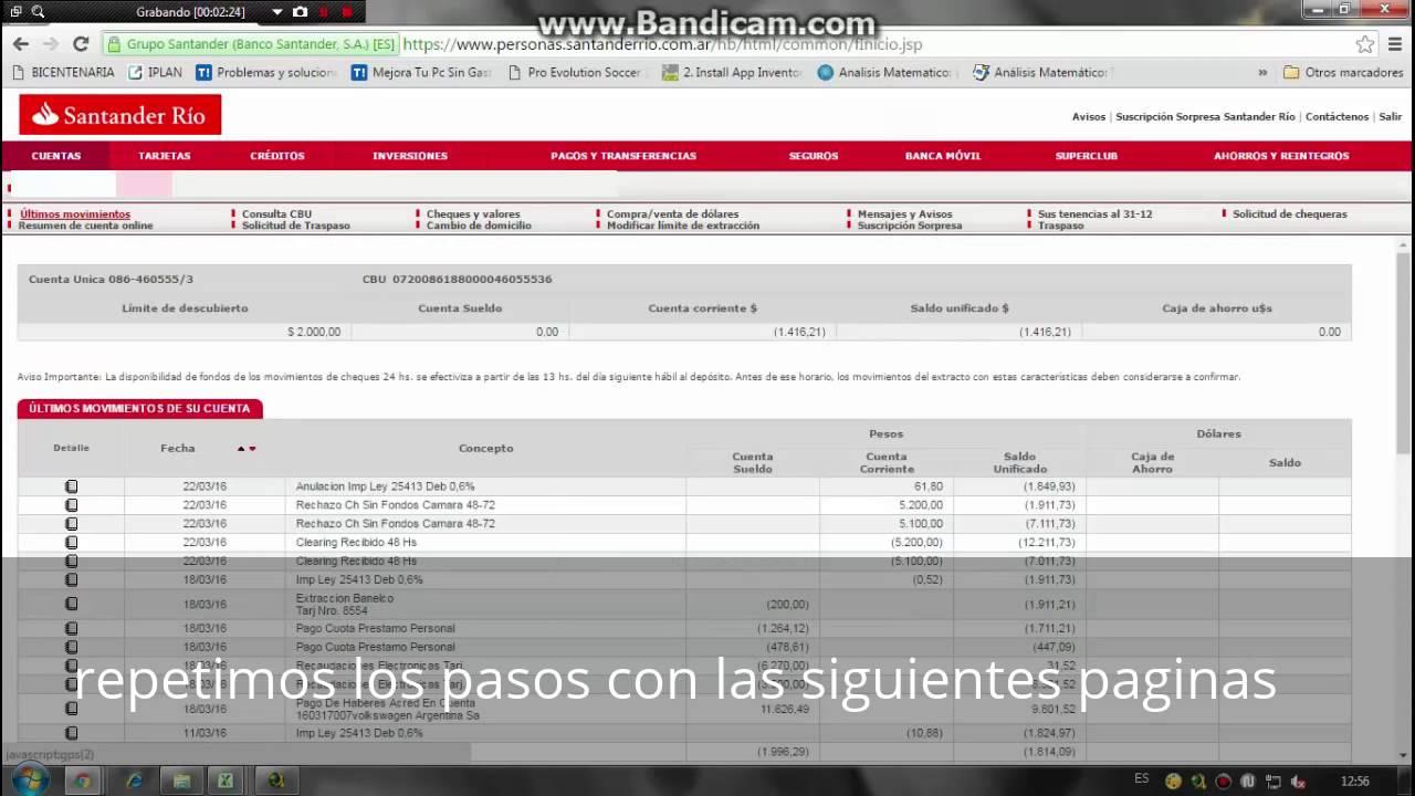 DESCARGAR MOVIMIENTOS DEL BANCO SANTANDER EN PDF - YouTube