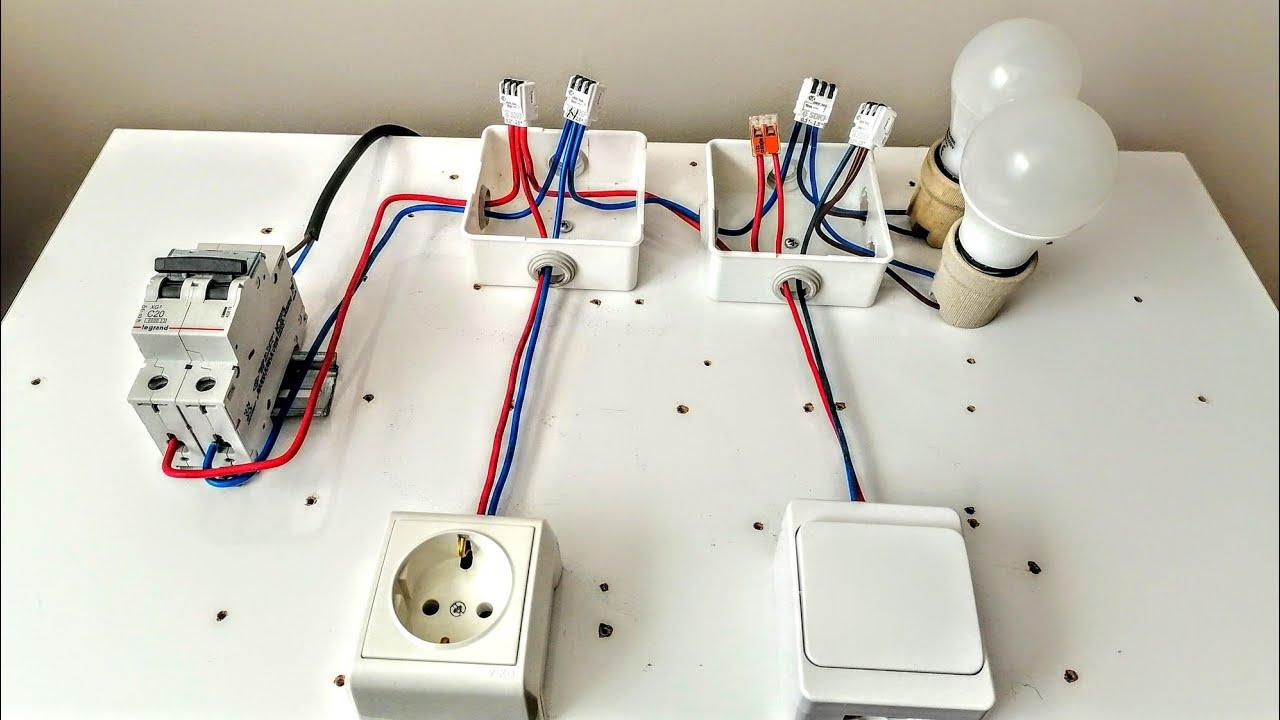 Bir sigorta ile Priz ve Lamba bağlantısı nasıl yapılır, Elektrik tesisatı buat ve  kablo montajı