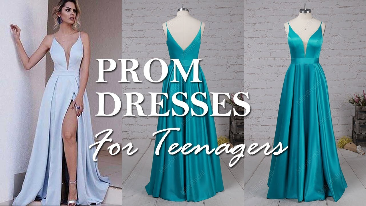 Pretty A-line V-neck Long Prom Dress For Teenagers | MillyBridal ...
