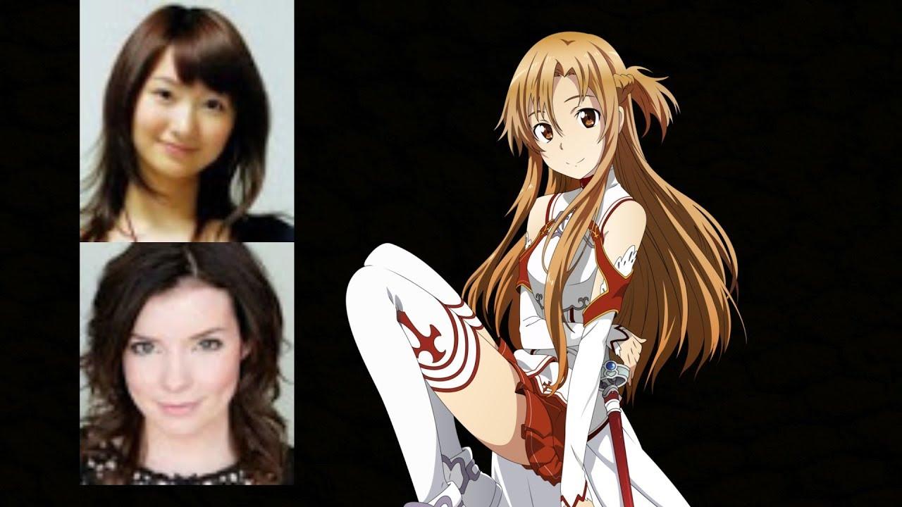 anime voice comparison asuna yuuki sword art online youtube