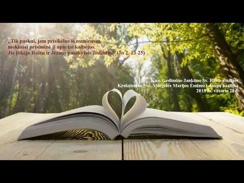 """99. """"Jie įtikėjo Raštu"""" (Jn 2, 13-25) Kun. G. Jankūno Šv. Rašto studijos"""
