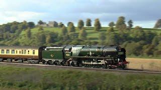 35028 `Clan Line` Belmond British Pullman 1z93 @ Newton st Loe 24-09-14