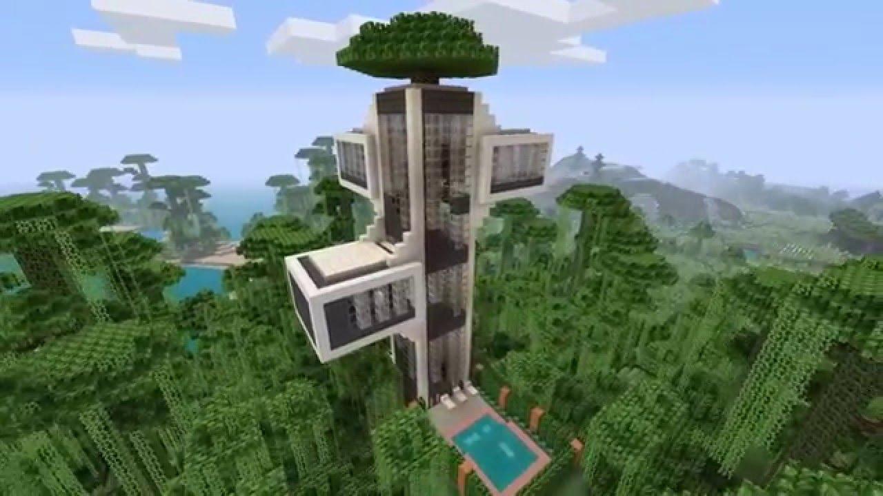 Modern Tree Houses Minecraft Modern Tree House Youtube