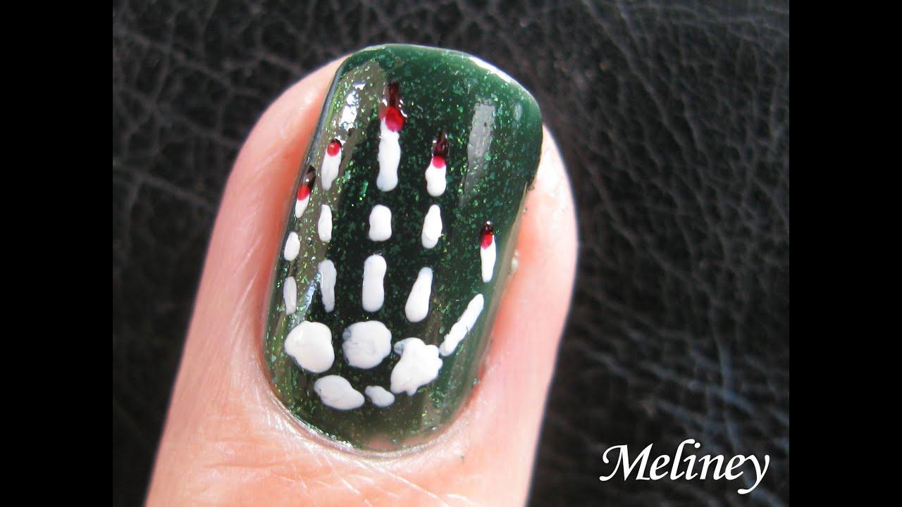 halloween nail art design - skeleton