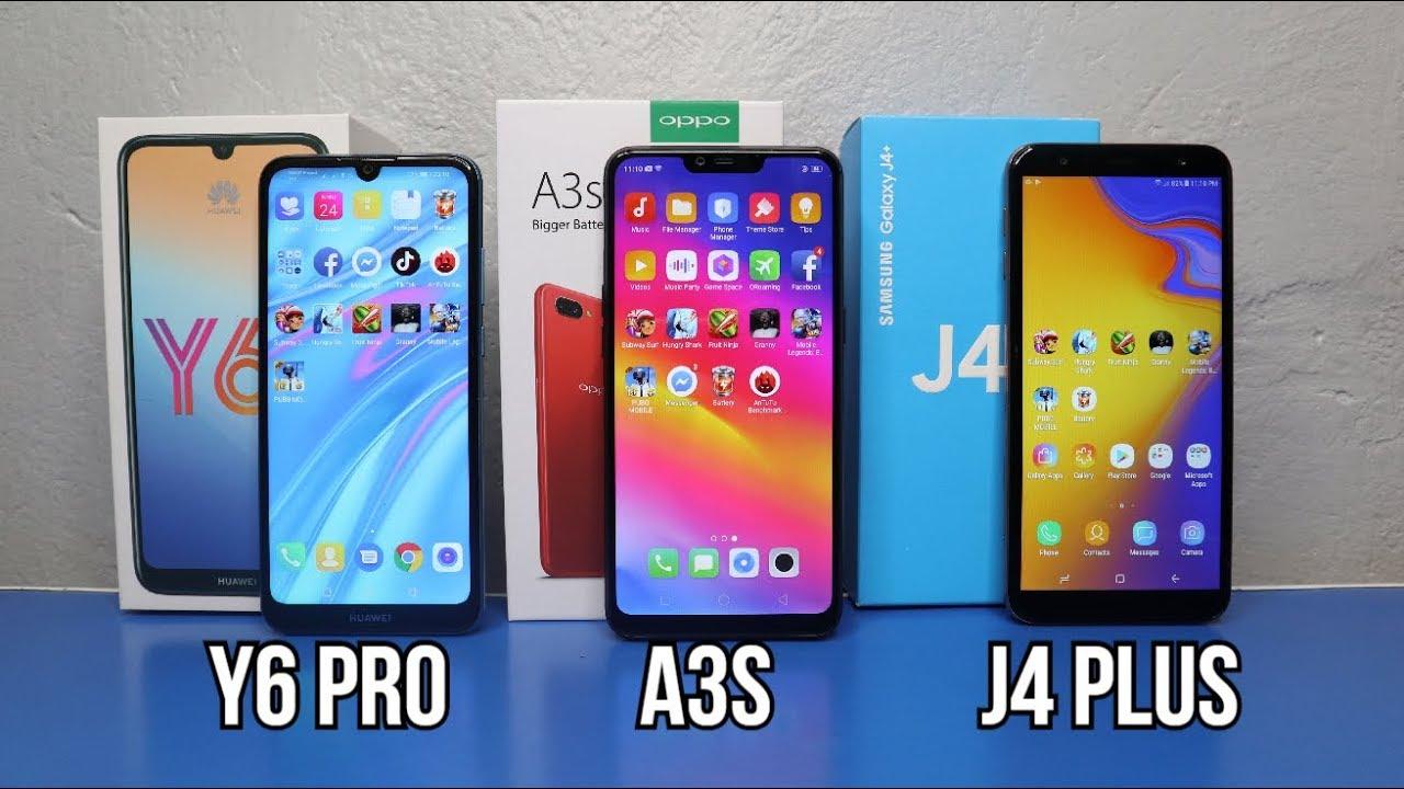 Huawei Y6 Pro 2019 Vs Oppo A3s (16GB) Vs Samsung J4 +