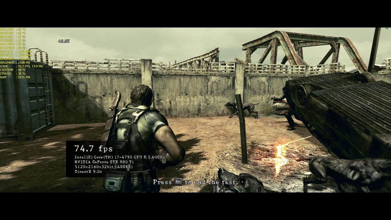 Silly Old Benchmarks - Resident Evil 5 - 2 x GTX 980 ti SLI - 5120 x 2160  (21:9 4k)