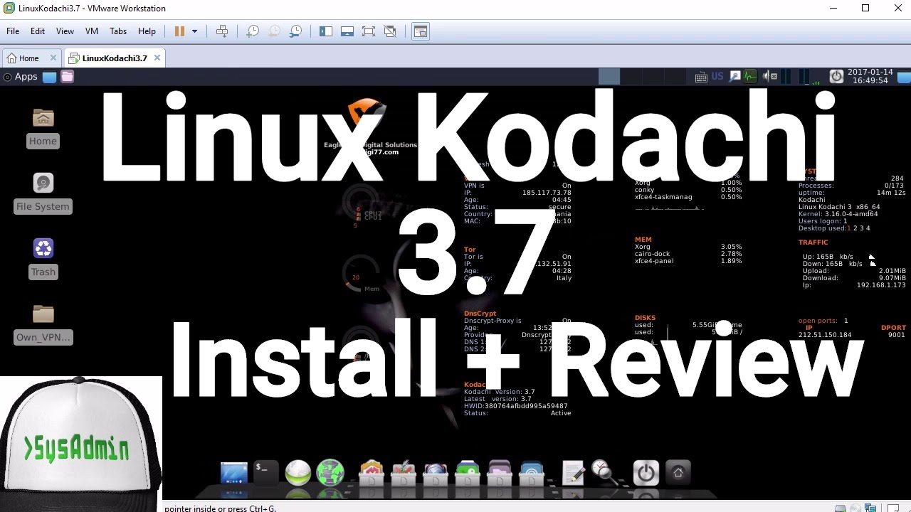 Linux Kodachi 3 7 Installation (Secure OS) + Review on VMware Workstation  [2017]