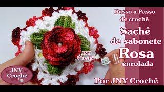 Sachê de sabonete de crochê Rosa enrolada por JNY Crochê
