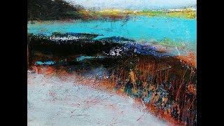 Abstract acrylic landscape painting, mixed media
