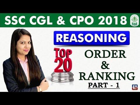 Top 20 Order & Ranking   Part 1   Reasoning   SSC CGL   CPO 2018