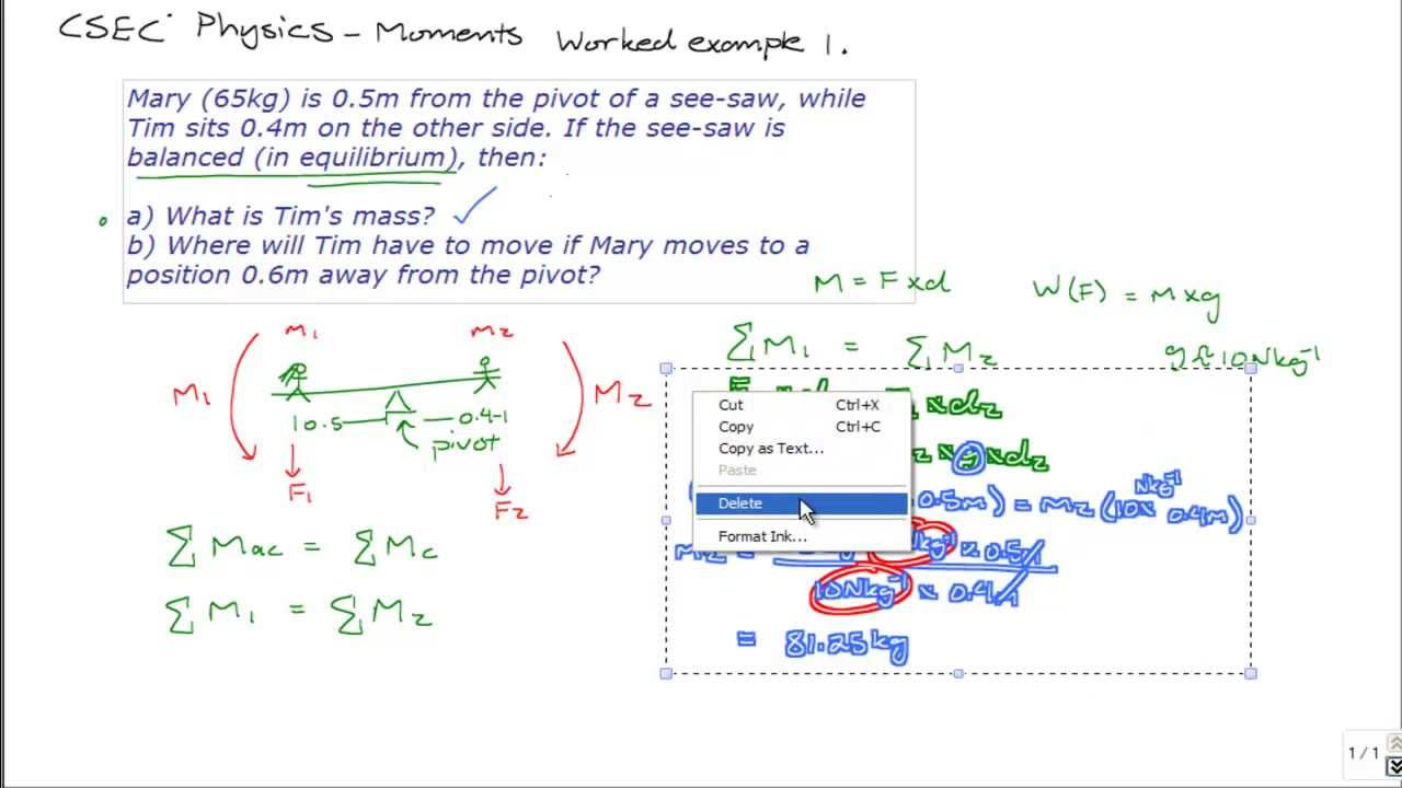 Csec Physics Worked Examples  Torque Moments Of Force
