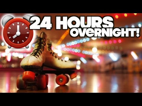 LOCKED IN! 24 Hour Overnight Challenge Fort At Roller Skating Rink!