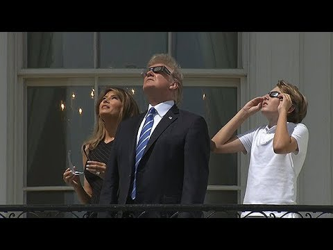 Barron Trump joins Donald and Melania to watch total eclipse
