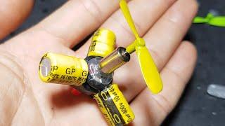 chế động cơ máy bay giả lập bằng tụ điện và motor sáng tạo độc đáo