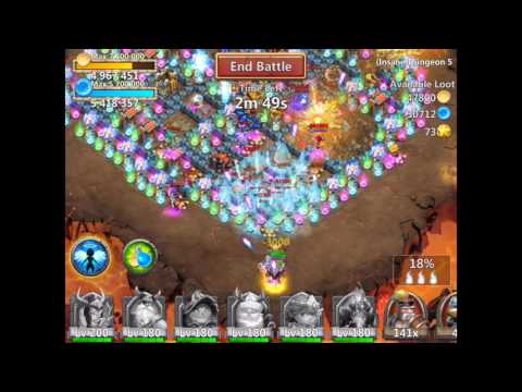 Castle Clash Insane Dungeon 5-8 With F2p Heroes