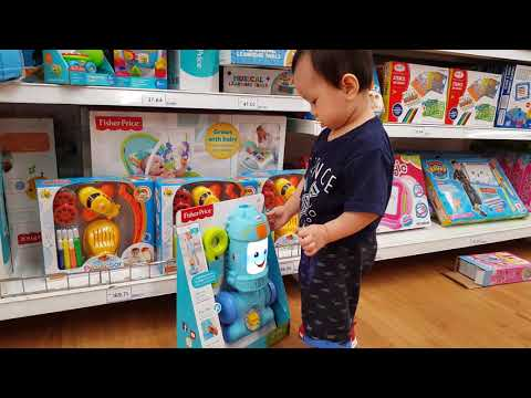 Ethan Cheong With Fisher Price Vacuum In Tesco