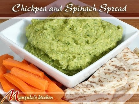 Chickpea and Spinach Spread - Hummus Recipe by Manjula