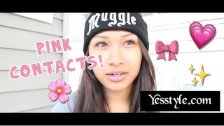 YesStyle Nudy Pink Colored Contacts Review | awkwardflowers Thumbnail