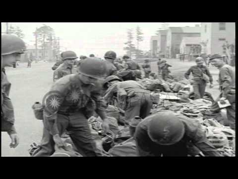 US soldiers check tags and place bags in their proper order at Camp Kilmer in New...HD Stock Footage