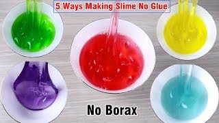5 Ways Making Slime No Glue 💧 How To Make Clear Slime With Salt 💧 Slime DIY