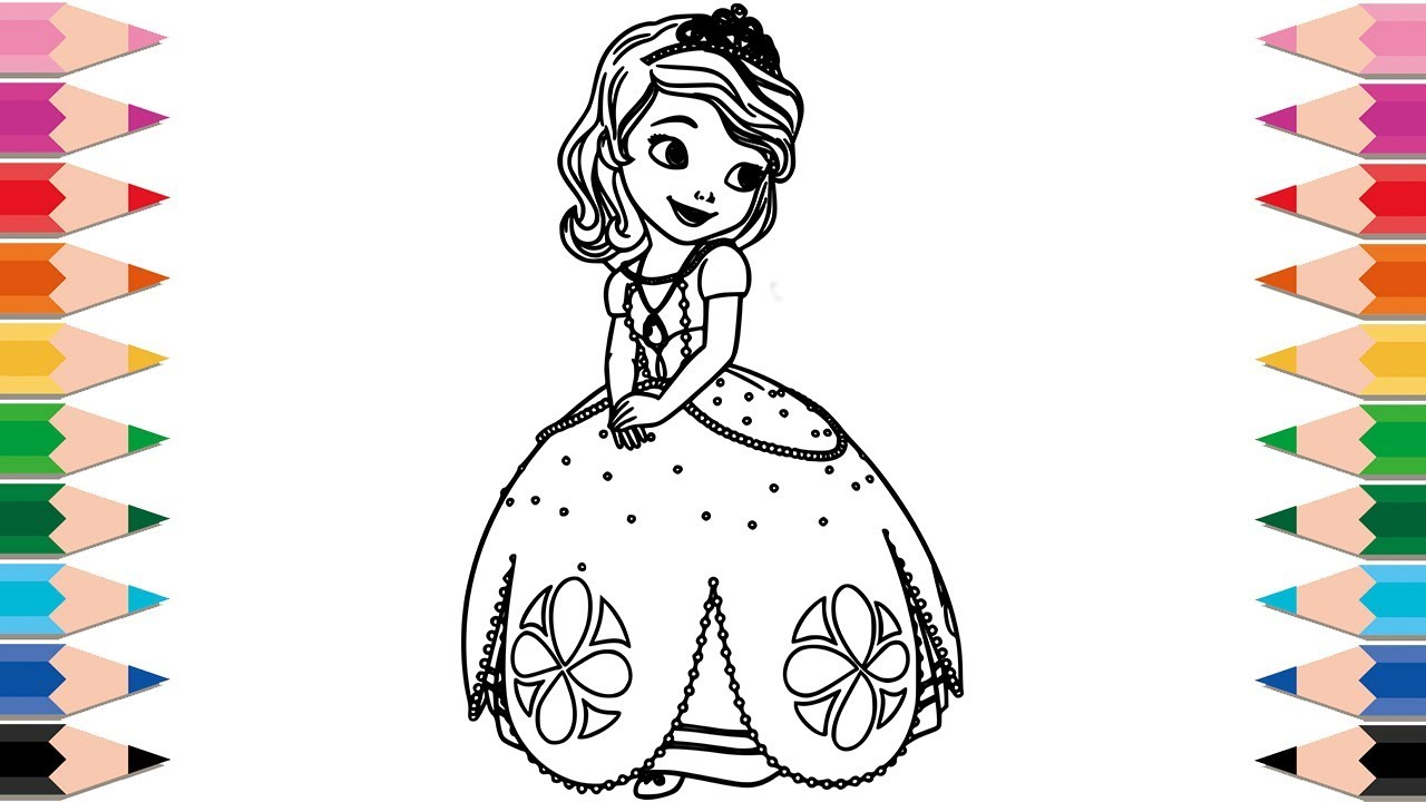 how to draw sofia the first coloring pages for kids learn colors with disney princess sofia for kid - Sofia Coloring Pages