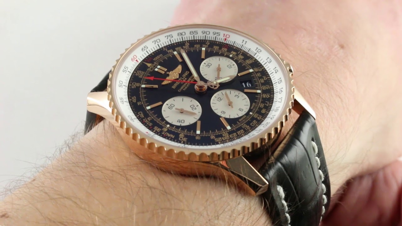 Pre Owned Breitling Navitimer 01 Chronograph 18k Red Gold Rb012012 Ba49 Watch Review