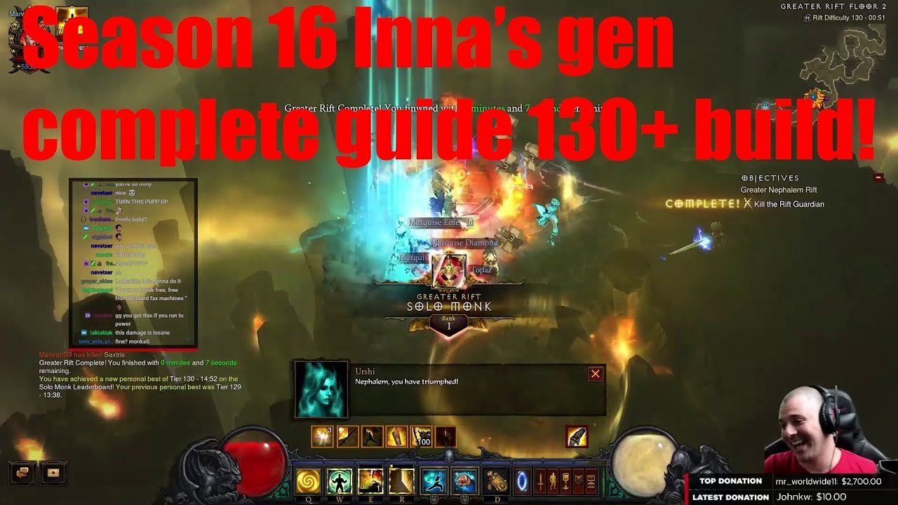 Season 16 Inna's gen guide! Rank 1 build! - Monk - Diablo