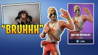 "TSM DAEQUAN REACTS TO THE NEW ""SUN TAN SPECIALIST"" SKIN IN FORTNITE!"