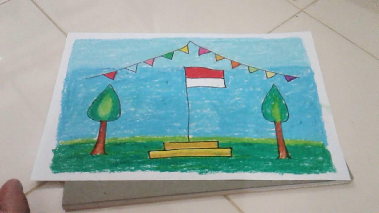 Pelajaran PAUD Tema Tanah Airku Mewarnai Gambar Bendera