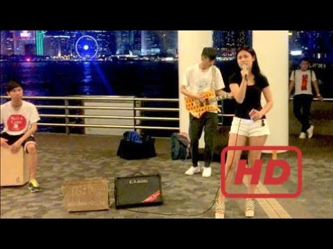 Hong Kong Girl Musicians | Victoria Harbour Avenue of Stars | Street Music | Chinese Song | C  #KHR