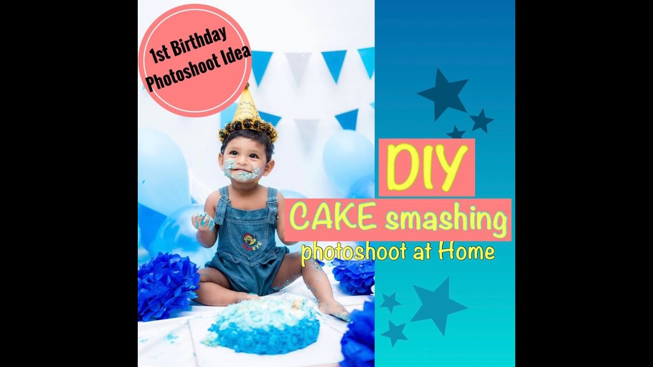First Birthday Photoshoot Idea Diy Decoration Ideas For Baby Boy Birthday Photoshoot Sinhala Youtube