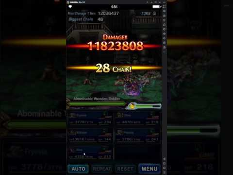 FFBE) Ashe Chain with Orlandeau Test - OTK boss Tiamat - Henne Mines