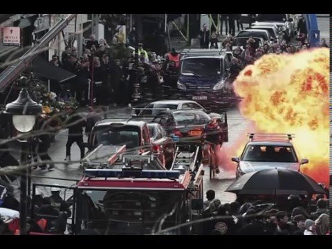 """Big explosion in London - The scene from """"The Foreigner""""- starring Jackie Chan and Pierce Brosnan."""
