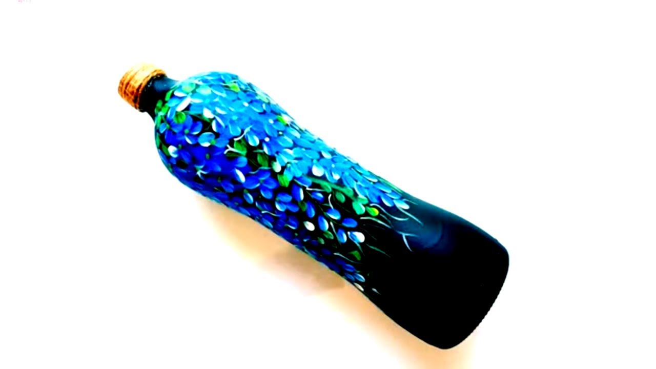 Quick Bottle Painting / Bottle Art & Craft / Simple and Easy DIY One Stroke Painting / Niviz Ep 67
