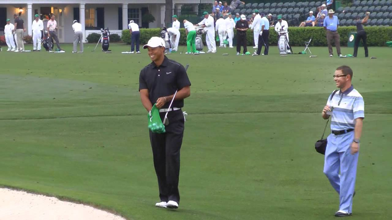 tiger woods masters practice round 2012
