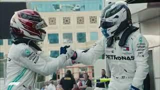 Pirotecnia no pódio do GP de Formula 1 no Azerbaijão 2019