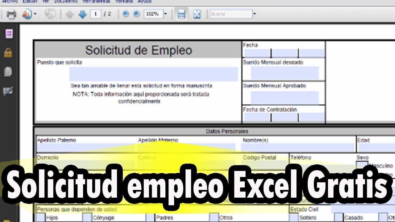 Descarga Solicitud De Empleo En Excel