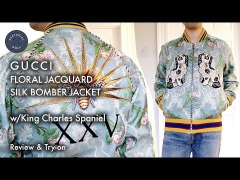 Gucci Floral Jacquard Silk Men s Bomber Jacket w King Charles Spaniel   Detailed Review   Try-on 5da8512cf4