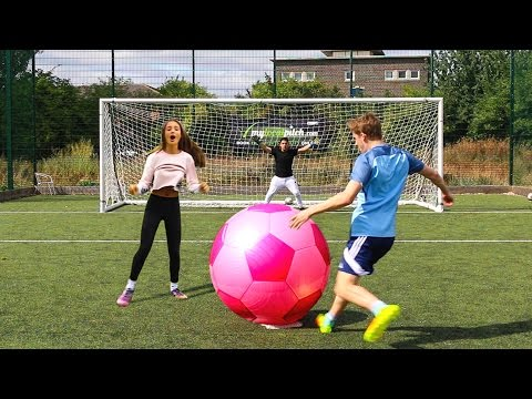 Thumbnail: GIANT FOOTBALL CHALLENGES vs MY SISTER