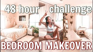 EXTREME 48 hr BEDROOM MAKEOVER *challenge* before & after TRANSFORMATION!!