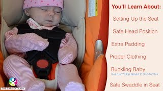 How to Secure Your Newborn in a Car Seat(This video is everything you need to know to put your baby into the car seat properly. It will help you set the seat up - knowing which shoulder strap slot to pick, ..., 2014-06-16T00:41:58.000Z)