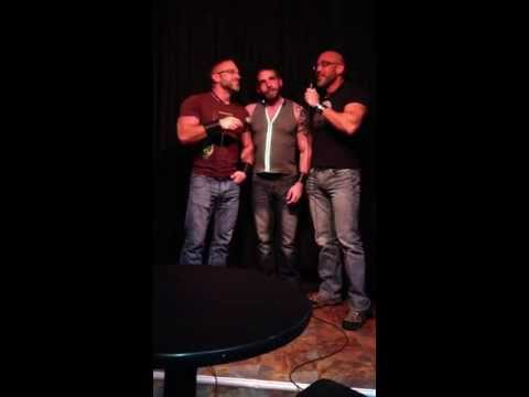Dirk Caber, Johnny Parker, and Jesse Jackman doing karaoke with J. P. Barnaby