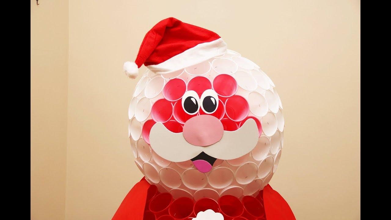 Lavoretti Di Natale Con Babbo Natale.Babbo Natale Con I Bicchieri Di Plastica Lavoretti Creativi Youtube