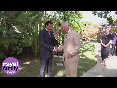 Prince Charles meets Lionel Richie and Tom Jones during Barbados tour