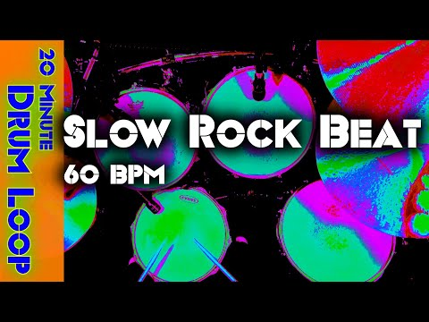 20 Minute Backing Track - Slow Rock Drum Beat 60 BPM